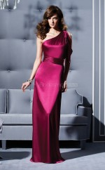 Fuchsia Charmeuse Sheath One Shoulder Long Bridesmaid Dresses (NZBD06683)