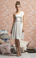 Ivory Satin Chiffon A-line One Shoulder Knee-length Bridesmaid Dresses (NZBD06686)
