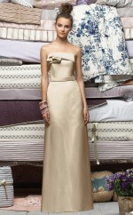 Champagne Stretch Satin Sheath Strapless Long Bridesmaid Dresses (NZBD06691)