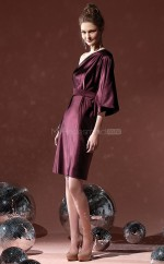 Burgundy Charmeuse Sheath One Shoulder Short Bridesmaid Dresses (NZBD06694)