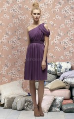Grape Chiffon A-line One Shoulder Knee-length Bridesmaid Dresses (NZBD06699)