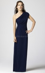 Ink Blue Chiffon Sheath One Shoulder Long Bridesmaid Dresses (NZBD06700)