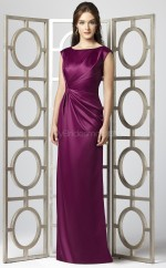 Fuchsia Stretch Satin Sheath Scoop Long Bridesmaid Dresses (NZBD06713)