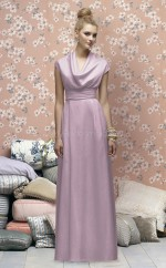 Lilac Satin Chiffon A-line Cowl Floor-length Vintage Bridesmaid Dresses (NZBD06716)