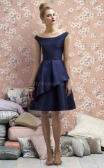 Ink Blue Charmeuse A-line Off The Shoulder Knee-length Vintage Bridesmaid Dresses (NZBD06721)