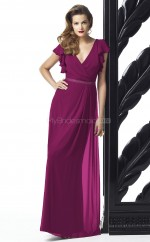 Fuchsia Chiffon Sheath V-neck Long Bridesmaid Dresses (NZBD06724)