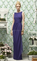 Purple Chiffon Sheath Bateau Long Bridesmaid Dresses (NZBD06730)