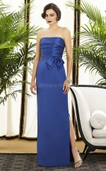 Royal Blue Chiffon Sheath Strapless Long Bridesmaid Dresses (NZBD06731)