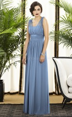 Lavender Chiffon A-line V-neck Long Bridesmaid Dresses (NZBD06735)