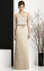 Champagne Stretch Satin , Lace Sheath V-neck Long Bridesmaid Dresses (NZBD06743)