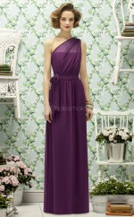 Grape Chiffon A-line One Shoulder Long Bridesmaid Dresses (NZBD06748)