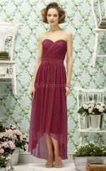 Burgundy Chiffon A-line Sweetheart Asymmetrical Bridesmaid Dresses (NZBD06750)