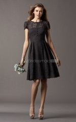 Black Lace A-line Scalloped Neckline Knee Length Bridesmaid Dresses (NZBD06758)