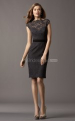 Black Lace Sheath Bateau Neckline Knee Length Bridesmaid Dresses (NZBD06759)
