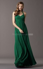 Dark Green Chiffon A-line Halter Long Bridesmaid Dresses (NZBD06762)