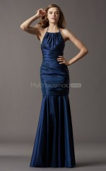 Navy Blue Taffeta Mermaid Halter Floor-length Vintage Bridesmaid Dresses (NZBD06768)