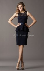 Black Satin , Lace Sheath Jewel Neckline Knee length Bridesmaid Dresses (NZBD06771)