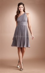 Silver Chiffon A-line One Shoulder Short Bridesmaid Dresses (NZBD06787)