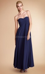 Navy Blue Chiffon A-line Sweetheart Ankle-length Bridesmaid Dresses (NZBD06789)
