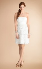 Ivory Chiffon A-line Strapless Short Bridesmaid Dress For Beach(NZBD06793)