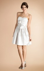 Ivory Satin A-line Sweetheart Neckline Short Bridesmaid Dresses (NZBD06794)