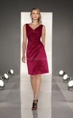 Dark Fuchsia Satin Sheath V-neck Knee-length Bridesmaid Dresses (NZBD06809)