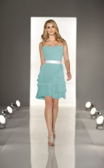 Sky Blue Chiffon A-line Strapless Short Bridesmaid Dress For Beach(NZBD06810)