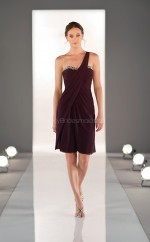 Grape Chiffon A-line One Shoulder Short Bridesmaid Dresses (NZBD06820)