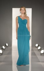 Green Chiffon Sheath One Shoulder Floor-length Vintage Bridesmaid Dresses (NZBD06825)