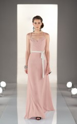 Nude Pink Chiffon A-line Straps Long Bridesmaid Dresses (NZBD06838)