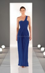 Royal Blue Chiffon Sheath One Shoulder Long Bridesmaid Dresses (NZBD06839)