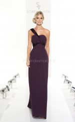 Grape Chiffon Sheath One Shoulder Long Bridesmaid Dresses (NZBD06840)