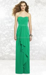 Jade Chiffon Sheath Sweetheart Long Bridesmaid Dresses (NZBD06844)