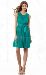 Green Chiffon A-line Jewel Neckline Short Bridesmaid Dress For Beach(NZBD06850)
