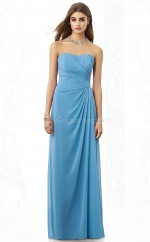 Sky Blue Chiffon Sheath Sweetheart Long Bridesmaid Dresses (NZBD06851)