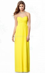 Yellow Chiffon Sheath Sweetheart Long Bridesmaid Dresses (NZBD06855)
