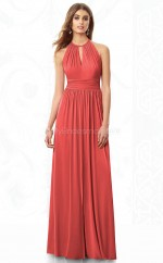 Watermelon Chiffon A-line Halter Long Bridesmaid Dresses (NZBD06857)