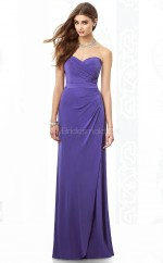 Royal Blue Satin Chiffon Sheath Sweetheart Floor-length Vintage Bridesmaid Dresses (NZBD06859)
