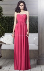 Red Chiffon A-line Sweetheart Long Bridesmaid Dresses (NZBD06865)