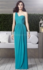 Green Chiffon A-line One Shoulder Long Bridesmaid Dresses (NZBD06866)