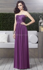 Grape Chiffon A-line Strapless Long Bridesmaid Dresses (NZBD06874)