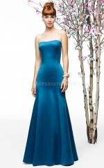 Royal Blue Satin Sheath Strapless Long Bridesmaid Dresses (NZBD06875)