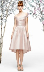Pink Stretch Satin A-line Off The Shoulder Knee-length Bridesmaid Dresses (NZBD06878)