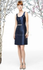 Dark Navy Stretch Satin A-line Scoop Short Bridesmaid Dresses (NZBD06879)