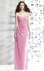 Candy Pink Chiffon Sheath Sweetheart Long Bridesmaid Dresses (NZBD06890)