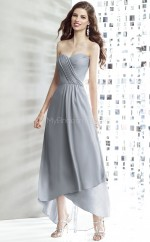 Gray Chiffon A-line Sweetheart Asymmetrical Bridesmaid Dresses (NZBD06891)