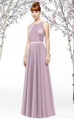 Lilac Satin A-line Jewel Long Bridesmaid Dresses (NZBD06894)