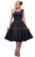 Black Taffeta Knee Length Vintage Bridesmaid Dresses (NZBD06904)