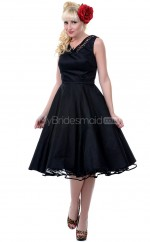 Black Satin Knee Length Vintage Bridesmaid Dresses (NZBD06915)