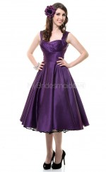 Regency Satin Tea Length Vintage Bridesmaid Dresses (NZBD06918)